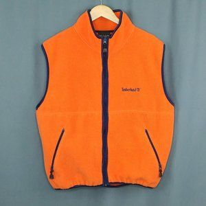 Timberland Fleece Vest Orange Blue Trim LARGE